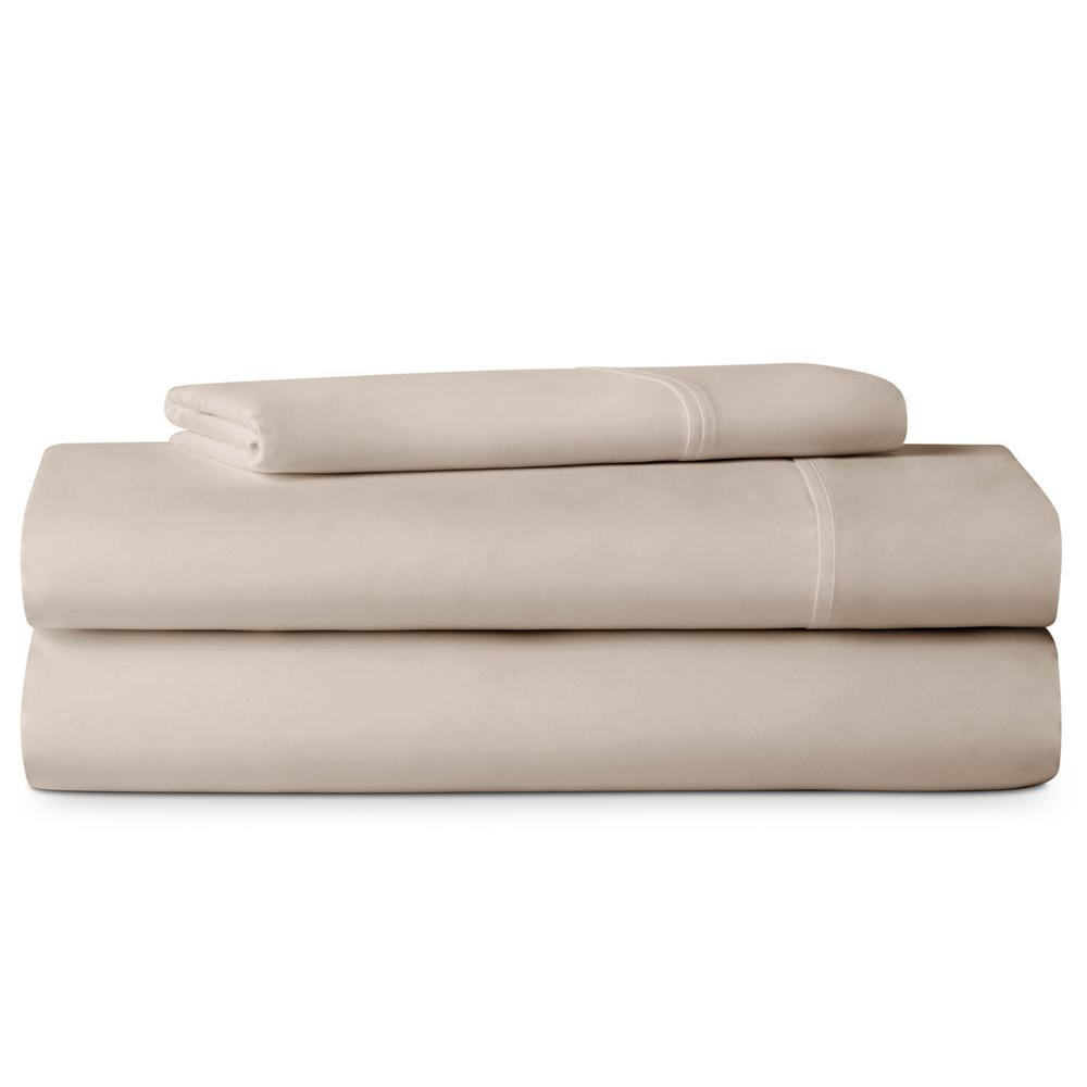 Lucid 3-Piece Brushed Microfiber Tan Cot Size Sheet Set