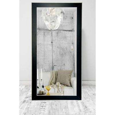 Modern Black with Silver Accent Tall Framed Mirror