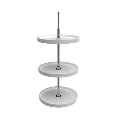 38 in. H x 20 in. W x 20 in. D White Polymer 3-Shelf Full Circle Lazy Susan Set