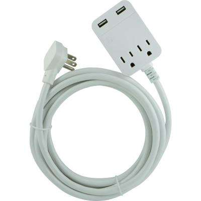 2-Outlet 2 USB Extension Cord Surge Protection with 12 ft. Cord
