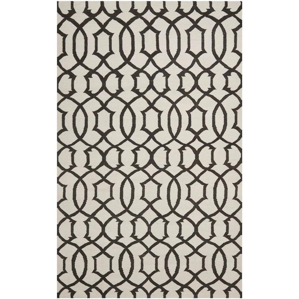 Dhurries Ivory/Charcoal 8 ft. x 10 ft. Area Rug