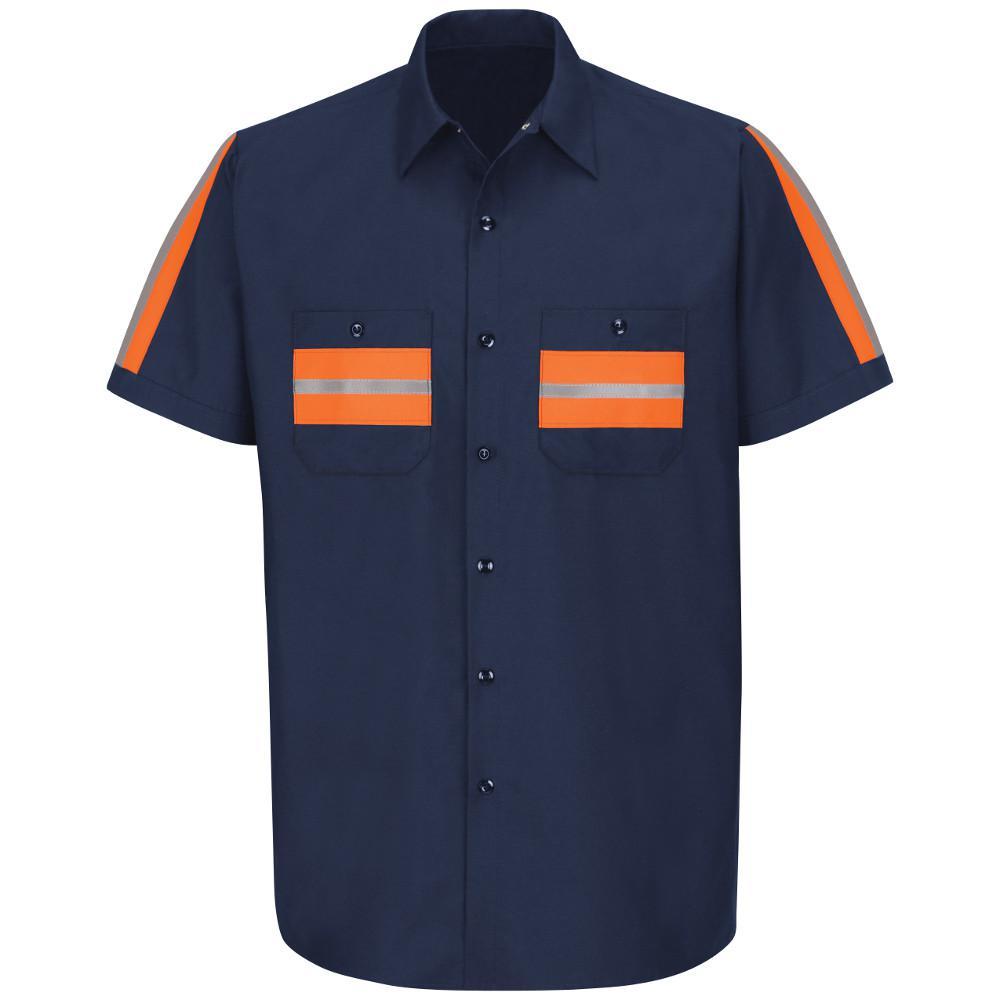 Red Kap Mens Enhanced Visibility Short Sleeve Ripstop Work Shirt Big//Tall Shirt
