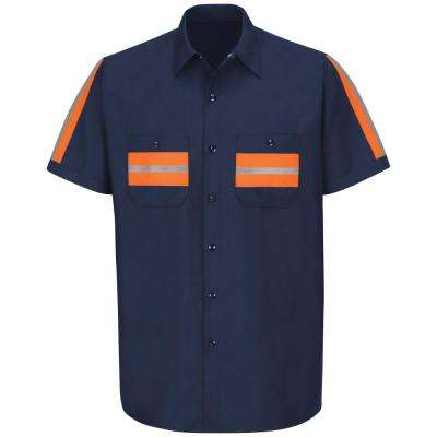 Men's Medium Navy with Orange Visibility Trim Enhanced Visibility Shirt