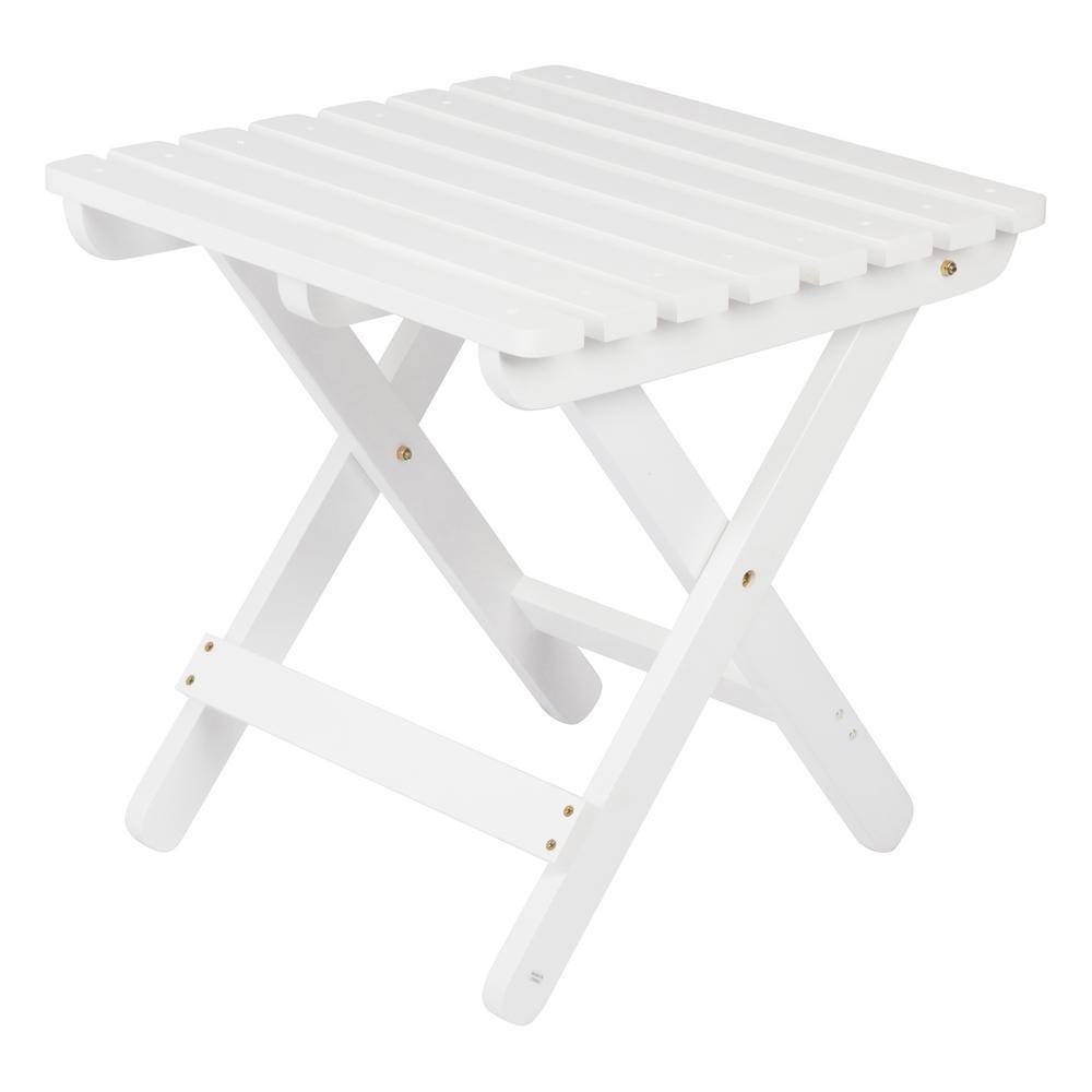 Adirondack White Square Wood Folding Table