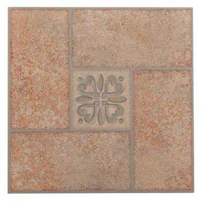 Tivoli Beige 12 in. x 12 in. Peel and Stick Terracotta Motif Vinyl Tile (45 sq. ft. / case)