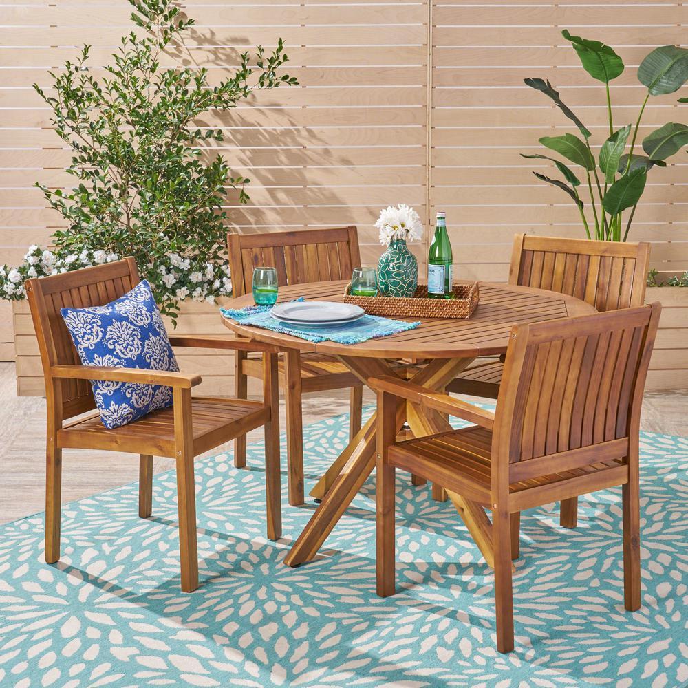 Karen Teak Brown 5-Piece Wood Outdoor Dining Set