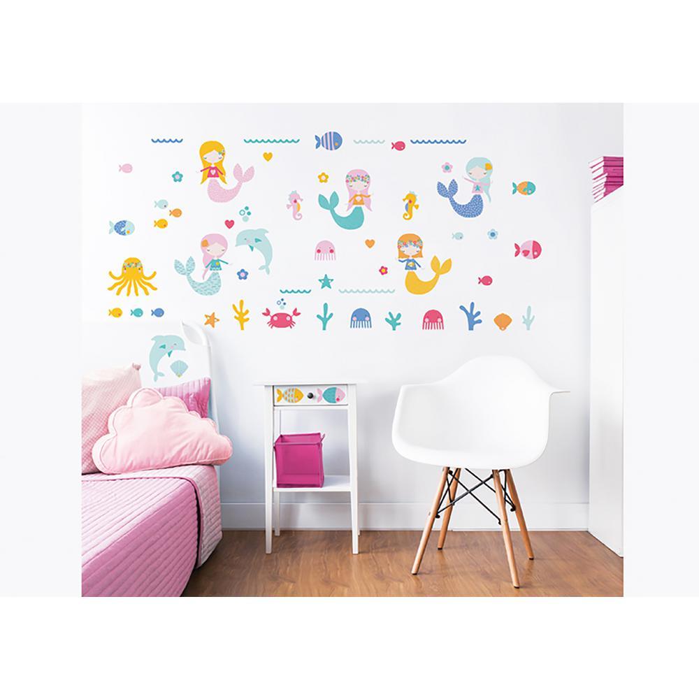 Internet #302050122. Walltastic Pink Mermaids Wall Stickers