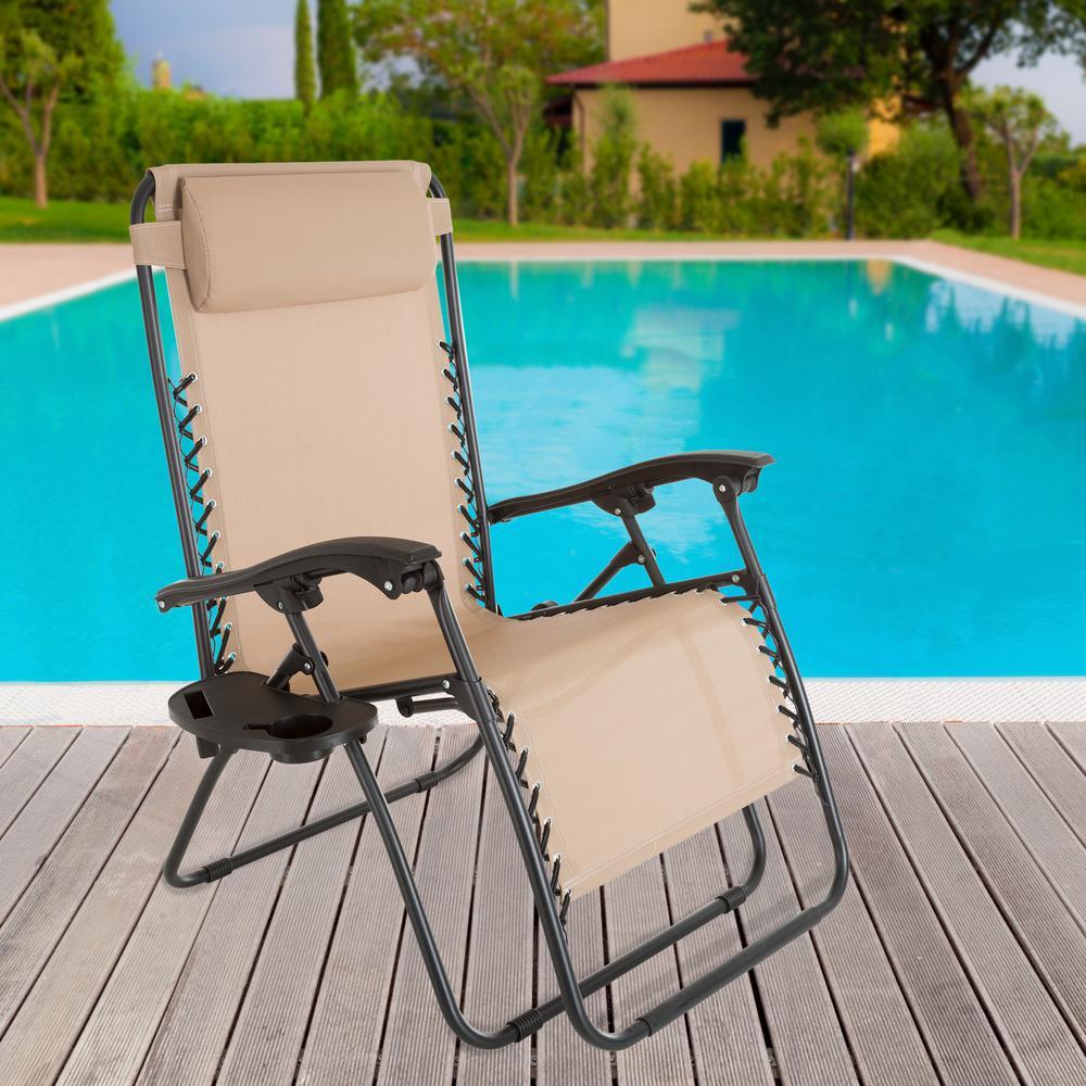 Fine Pure Garden Oversized Zero Gravity Patio Lawn Chair In Beige Cjindustries Chair Design For Home Cjindustriesco