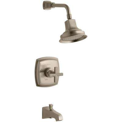 Margaux 1-Handle 1-Spray Tub and Shower Faucet with Cross Handle in Vibrant Vibrant Brushed Bronze (Valve Not Included)