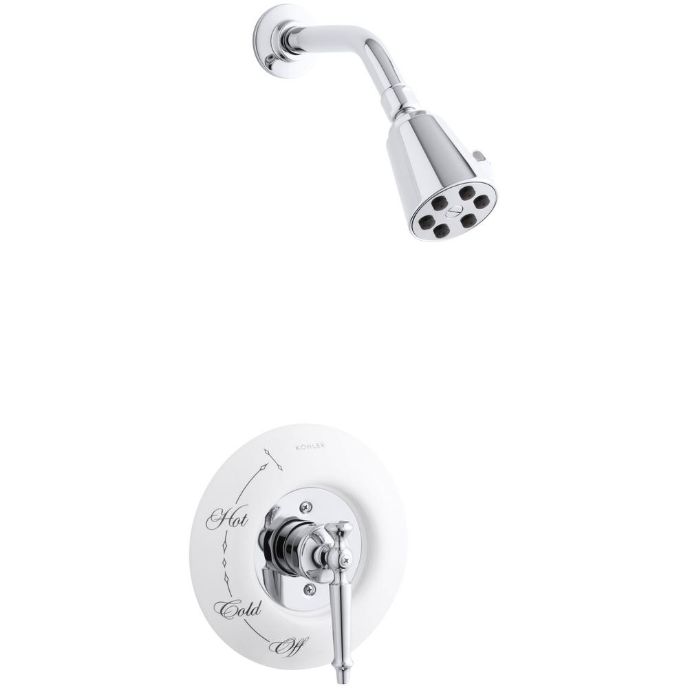 KOHLER Antique 1-Spray 3.8 in. Single Wall Mount Fixed Shower Head in Polished Chrome was $1078.2 now $539.1 (50.0% off)