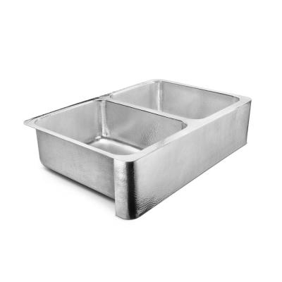 Anning Farmhouse Apron-Front Crafted Stainless Steel 32 in. 50/50 Double Bowl Kitchen Sink with Polished Finish