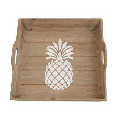Welcome Natural Pineapple Planked Wood Tray