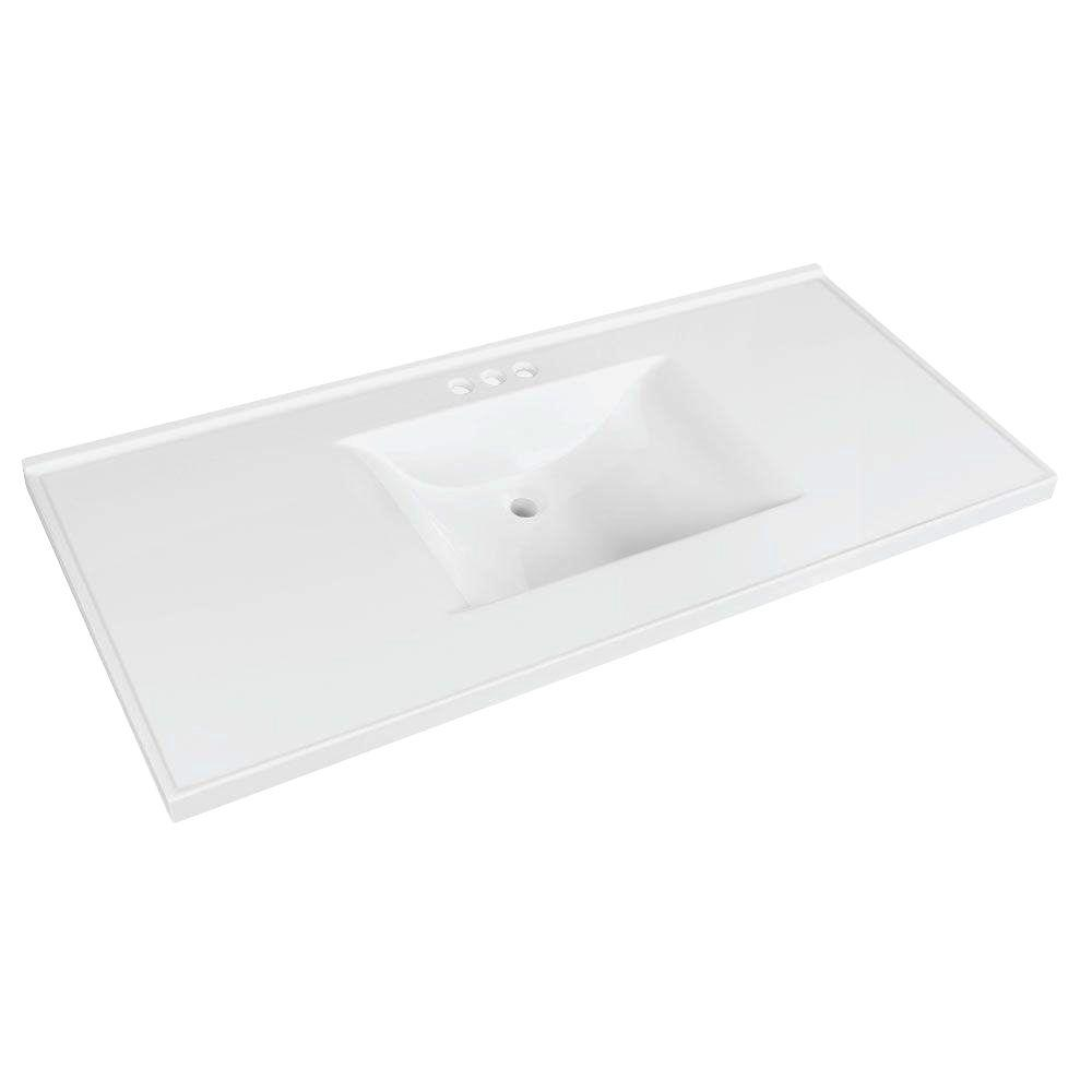 Glacier Bay 49 in. W x 22 in. D Cultured Marble Vanity Top in White with White Basin