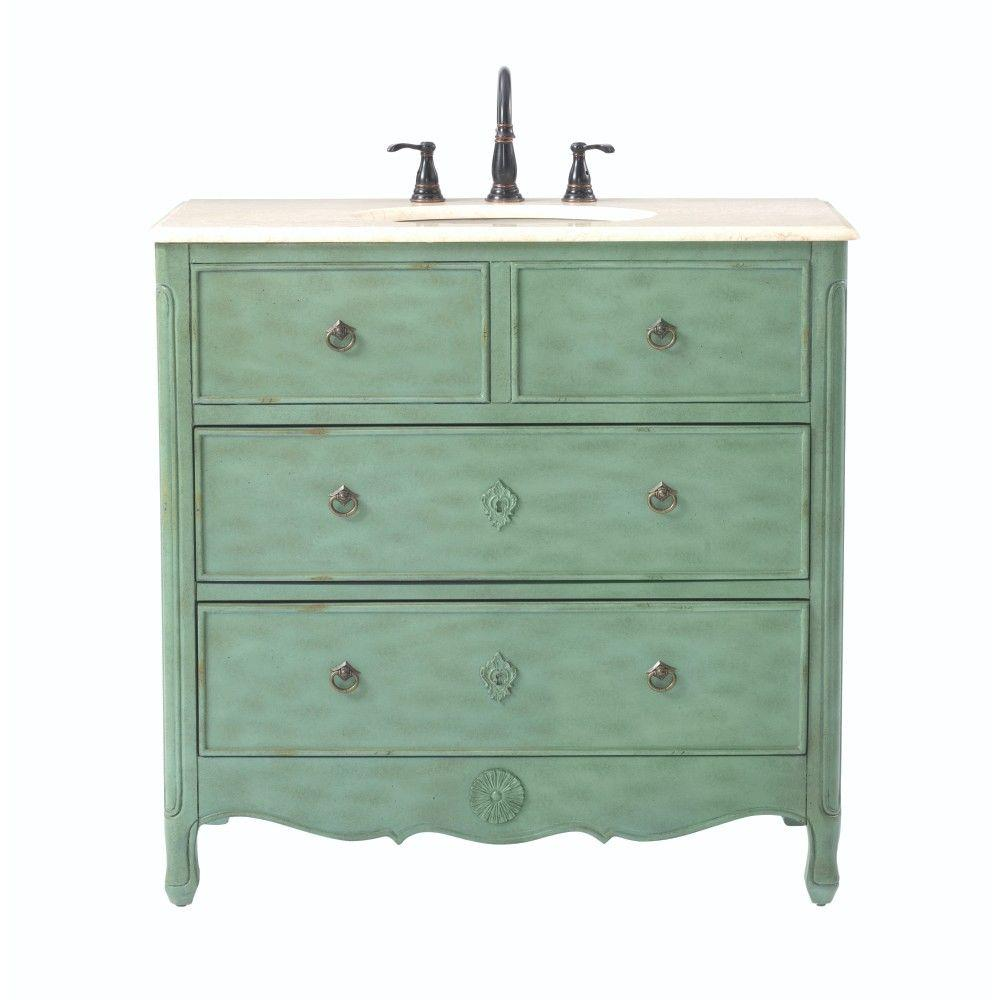 Home Decorators Collection Keys 36 in. W Vanity in Distressed Aqua Marine with Marble Vanity Top in Beige