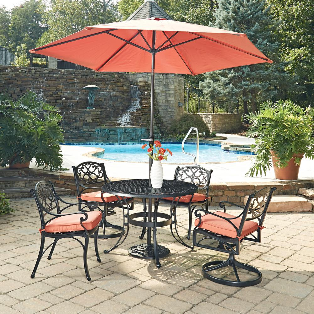 Home Styles Biscayne Black 7 Piece Cast Aluminum Outdoor Dining Set With  Coral Cushions