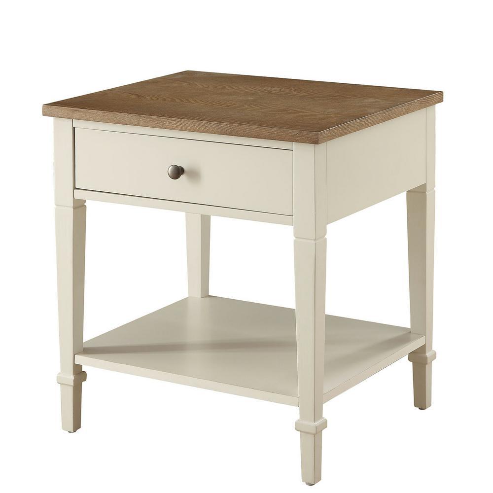 Tevoli Polar White and Rustic Oak Side Table