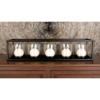 5 in. Black Iron and Clear Glass 5-Pedestal Rectangular Candle Holder