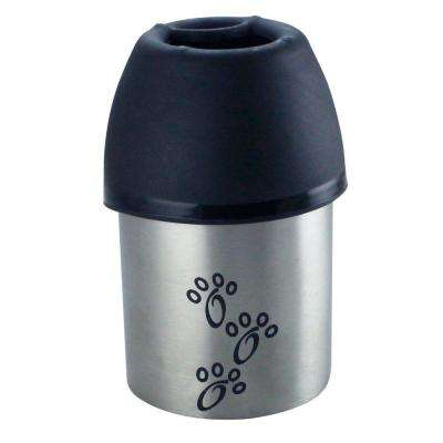 Pets 0.092 Gal. Small Stainless Steel and Plastic Fin Cap Travel Water Bottle in Silver and Black (Set of 2)