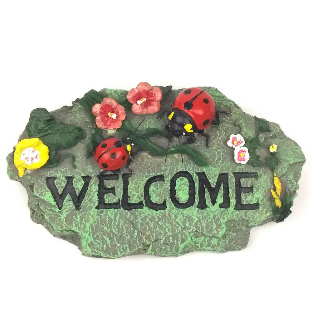 Lady Bug Welcome Stone-LS1017WS3 - The Home Depot