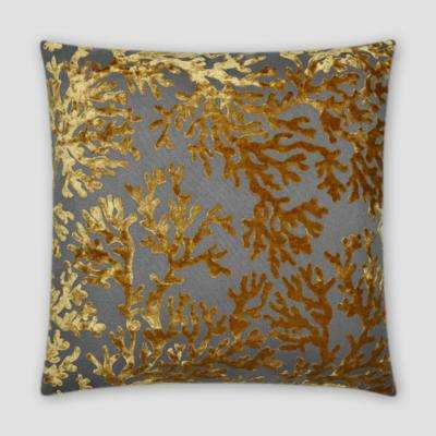 St. Tropez Gold Feather Down 20 in. x 20 in. Standard Decorative Throw Pillow