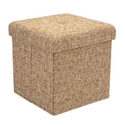Brown 15 in. x 15 in. x 15 in. Single Folding Linen Ottoman