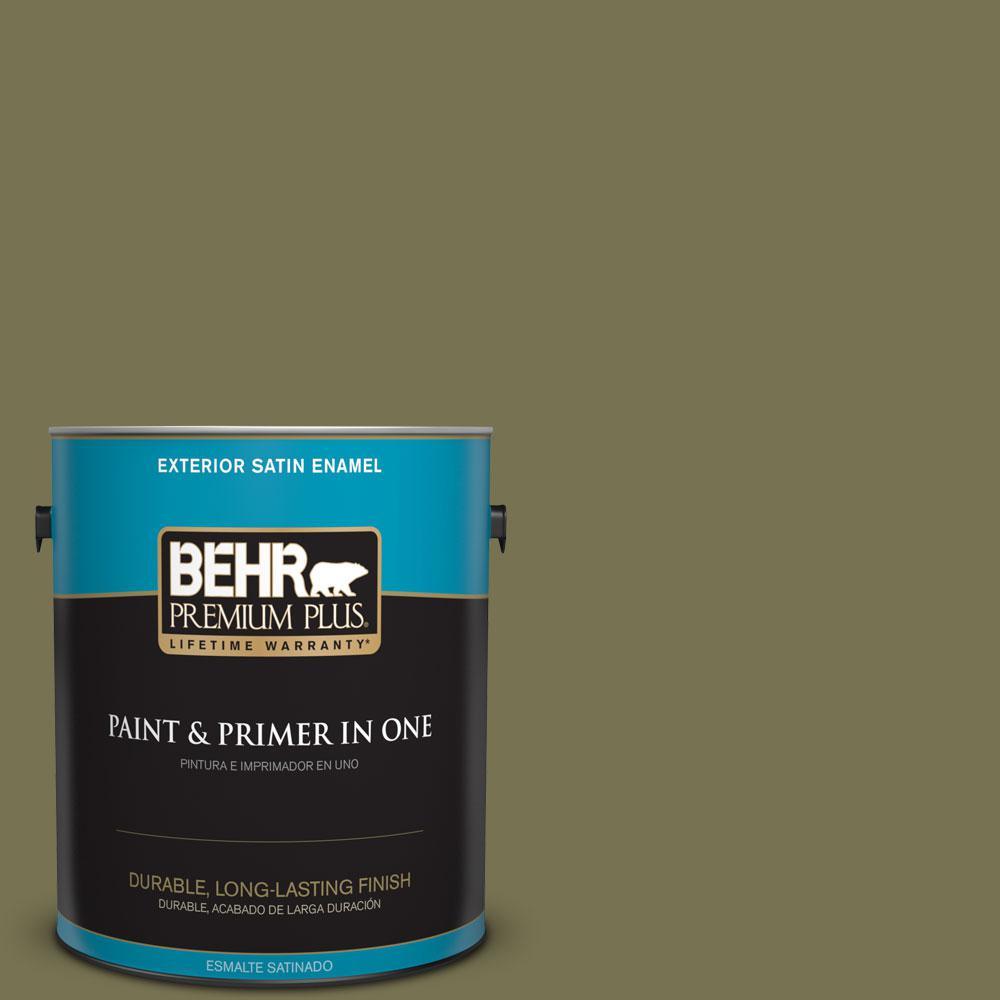 BEHR Premium Plus 1-gal. #S350-6 Truly Olive Satin Enamel Exterior Paint