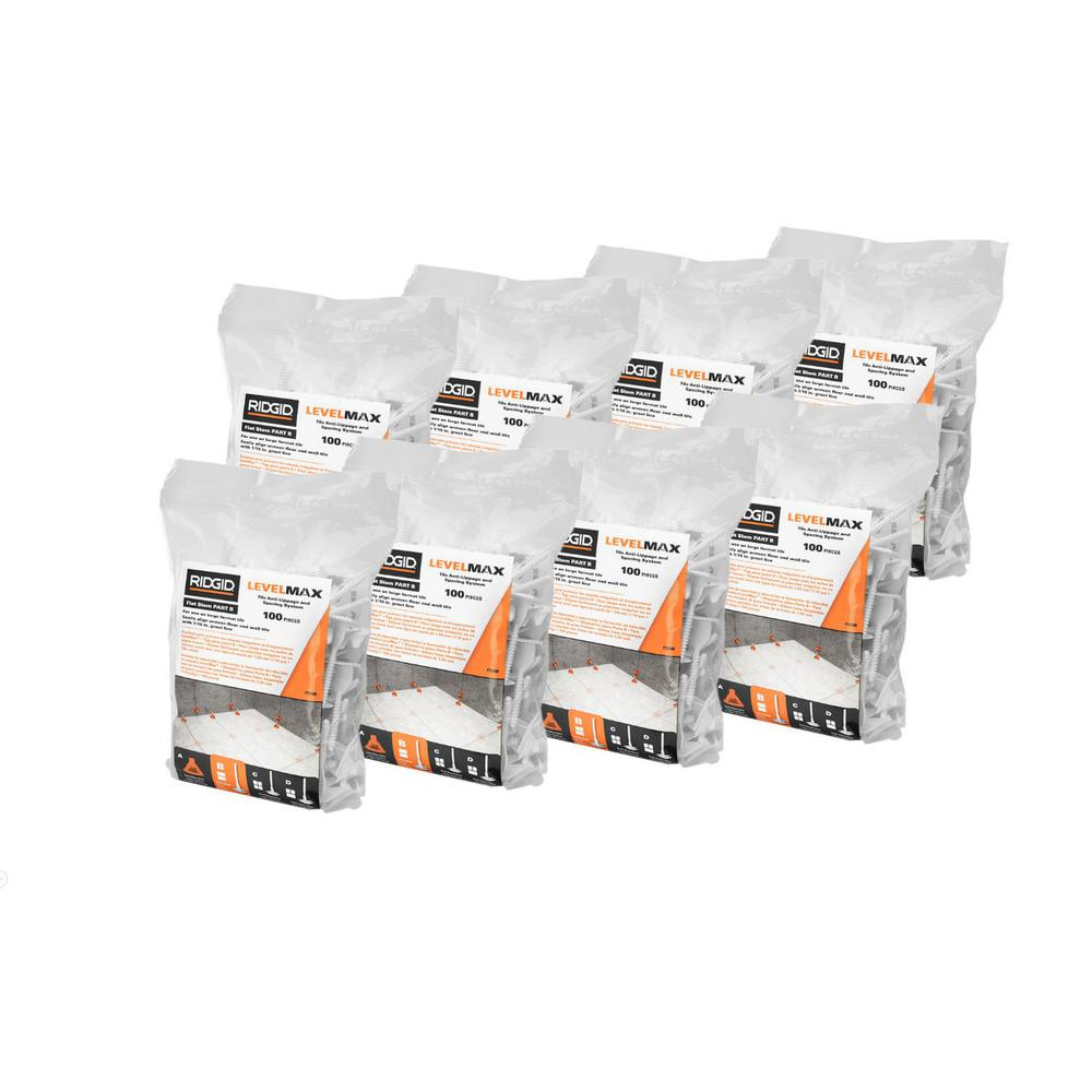 RIDGID LevelMax Tile Anti-Lippage and Spacing System Flat Stem (8-Packs of 100)