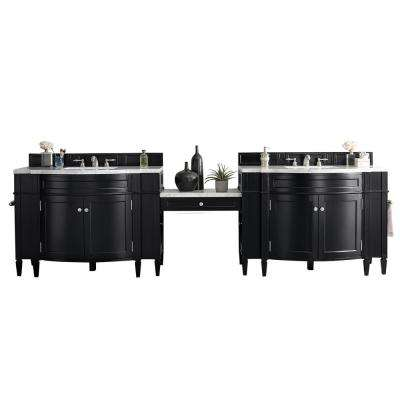 Brittany 122.50 in. W Double Bath Vanity in Black Onyx with Marble Vanity Top in Carrara White with White Basin