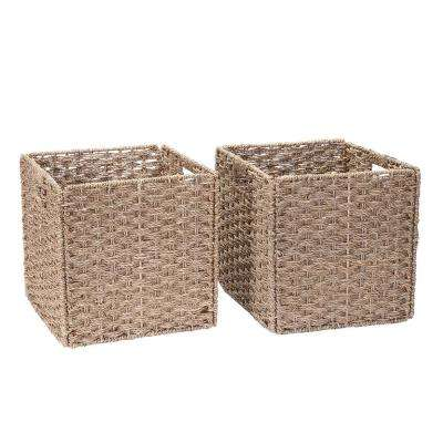 12 in. x 12 in. Square Hand-Woven Water Hyacinth Twisted Wicker Foldable Basket in Natural (2-Pack)
