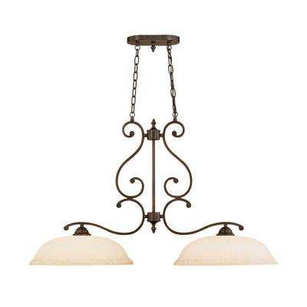 2-Light Rubbed Bronze Island Light with Turinian Scavo Glass