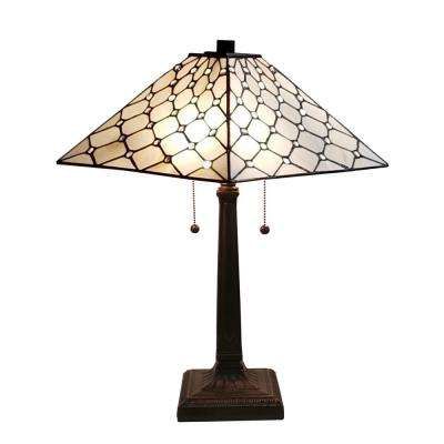 11 in. Tiffany Style Jeweled Double Lit 2-Light Table Lamp