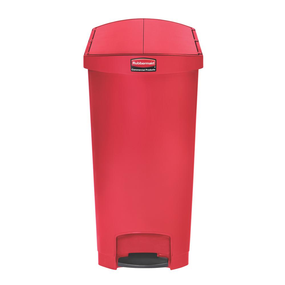 Rubbermaid Commercial Products Slim Jim Step-On 24 Gal. Red Plastic End  Step Trash Can