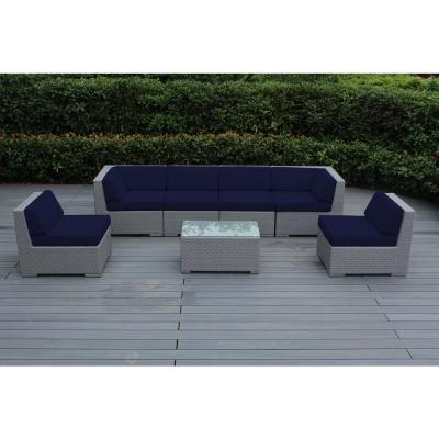 Gray 7-Piece Wicker Patio Seating Set with Sunbrella Navy Cushions