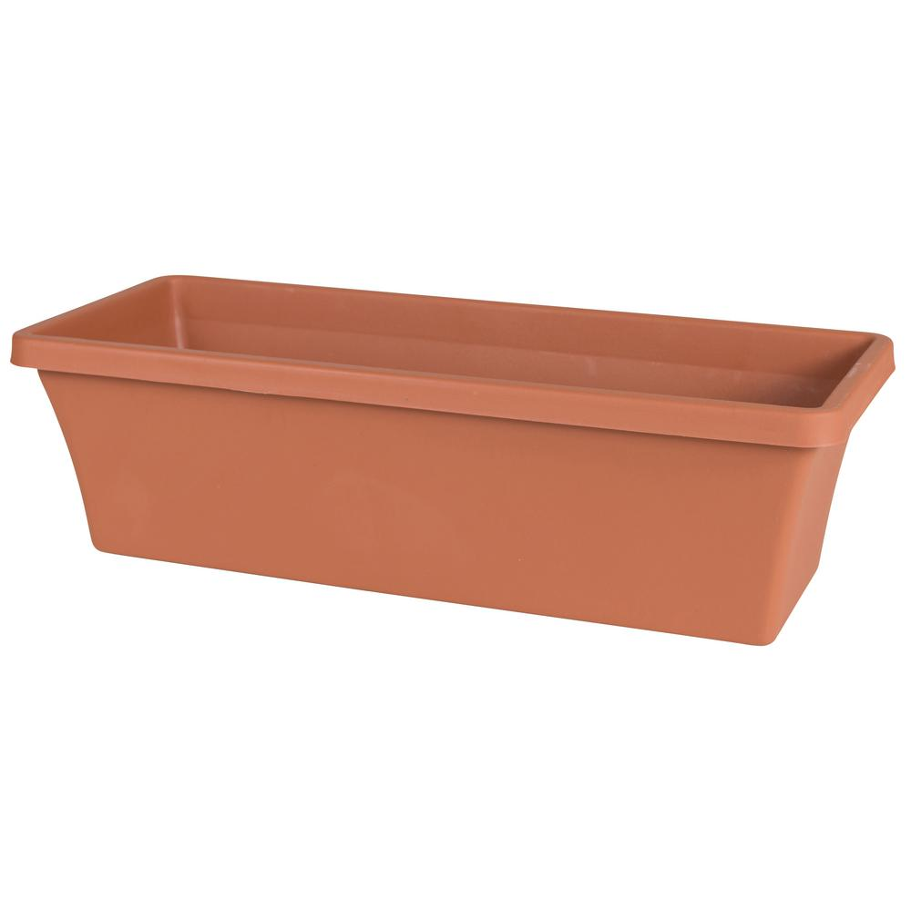 Terra 24 in. Terra Cotta Plastic Window Box Planter