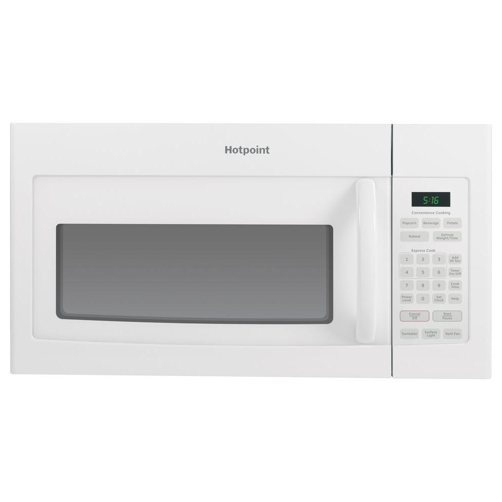 hotpoint 1 6 cu ft over the range microwave in white. Black Bedroom Furniture Sets. Home Design Ideas