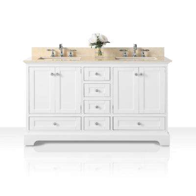 Audrey 60 in. W x 22 in. D Bath Vanity with Marble Vanity Top in Galala Beige with White Basins
