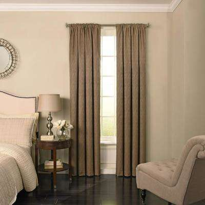 Barrou Blackout Window Curtain Panel in Taupe - 52 in. W x 95 in. L
