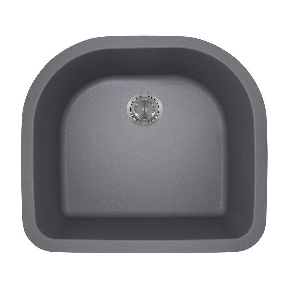 undermount granite composite 24 75 in  0 hole single bowl kitchen sink in polaris sinks undermount granite 25 in  single bowl kitchen sink      rh   homedepot com