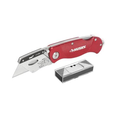 Folding Lock-Back Utility Knife, Red with 10-Blades