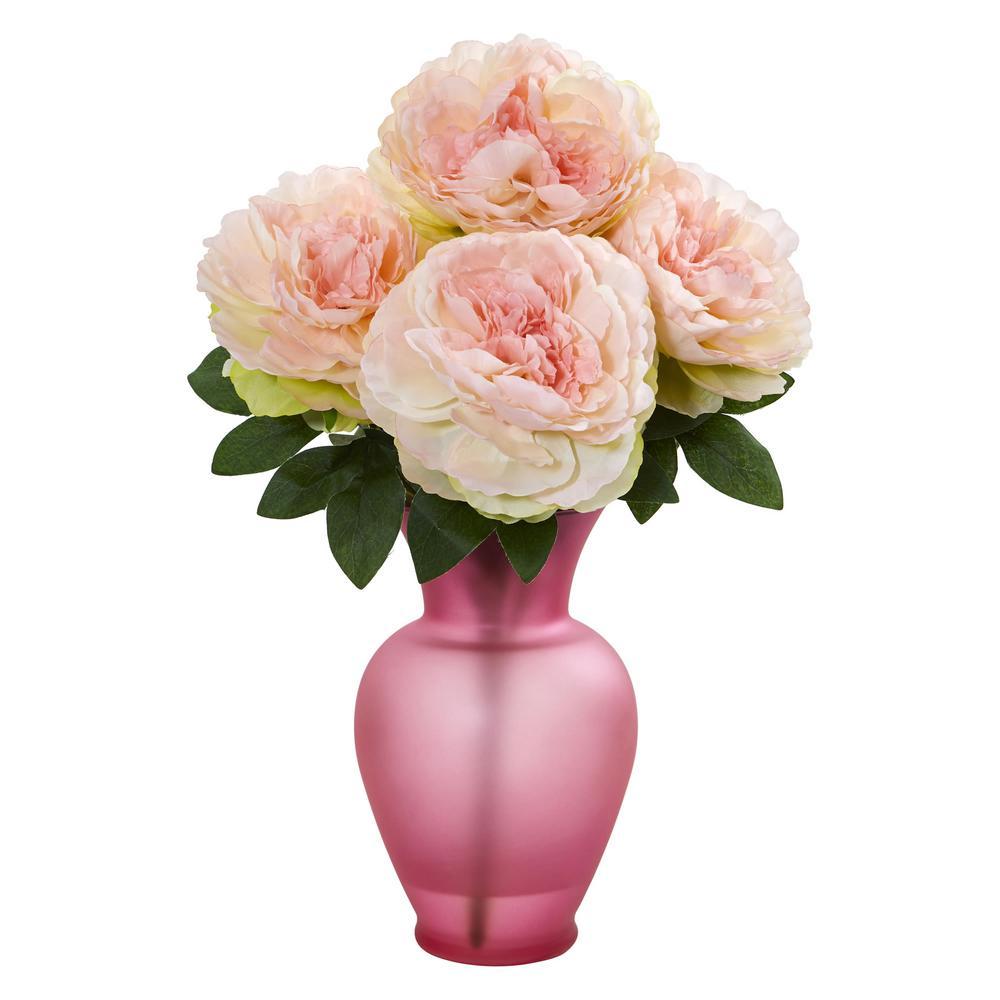 Nearly Natural Indoor Peony Artificial Arrangement in Rose Garden Vase 1803-PK