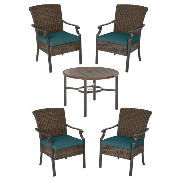 Harper Creek Brown 5-Piece Steel Outdoor Patio Dining Set with CushionGuard Charleston Blue-Green Cushions