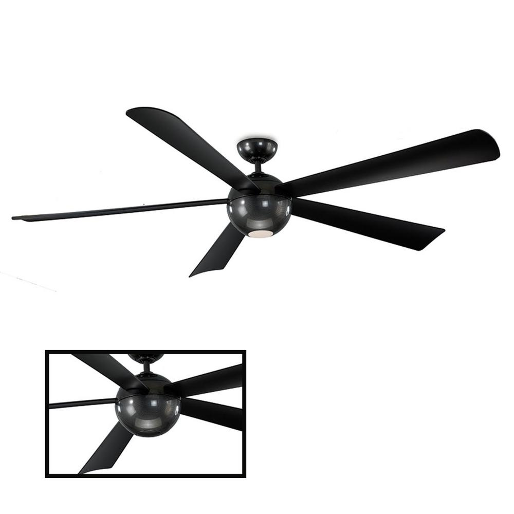 Modern Forms Orb 82 in. LED Indoor/Outdoor Carbon Fiber 5-Blade Smart Ceiling Fan with 3000K Light Kit and Wall Control