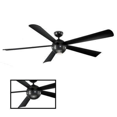 Orb 82 in. LED Indoor/Outdoor Carbon Fiber 5-Blade Smart Ceiling Fan with 3000K Light Kit and Wall Control