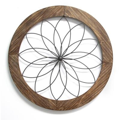 Round Wood and Metal Medallion Wall Dcor