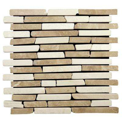 Sticks Tile Blend 11 3/4 in. x 11 3/4 in. x 9.5mm Indonesian Marble Mesh-Mounted Mosaic Tile (10.659 sq. ft. / case)