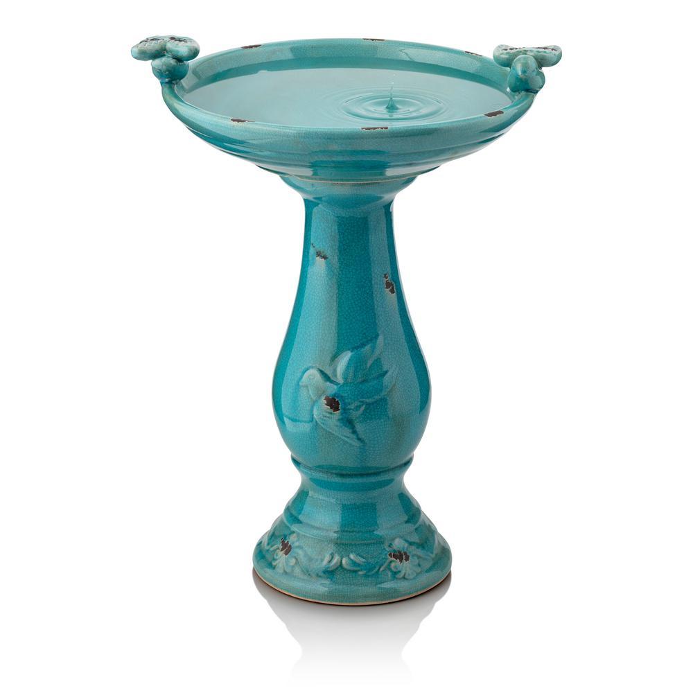 Turquoise Ceramic Pedestal Birdbath with 2 Bird Figurines