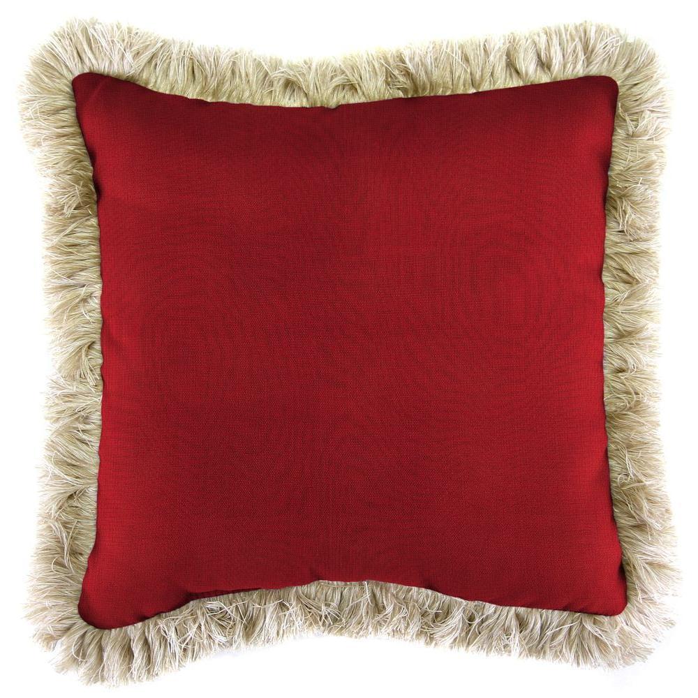 Jordan Manufacturing Sunbrella Spectrum Crimson Square Outdoor Throw Pillow with Canvas Fringe