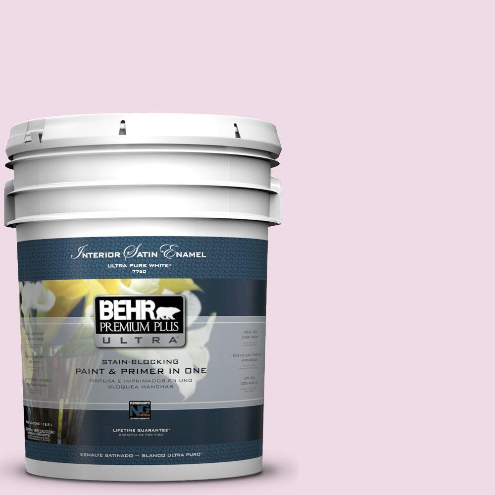 5-gal. #M130-1 Pink Posies Satin Enamel Interior Paint