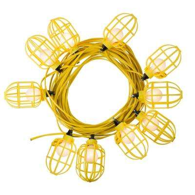 100 Ft 14 2 Flat Wire 10 Lamp Plastic Cage Temporary Light Stringer Yellow