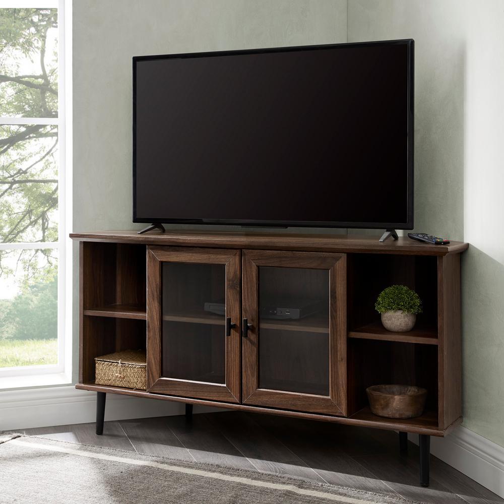 48 in. Dark Walnut Composite Corner TV Stand Fits TVs Up to 52 in. with Storage Doors